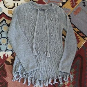 PrAna Wool Sweater Poncho Grey Cable Knit